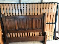 Antique French Oak Double Bed Frame