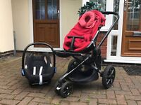 Quinny Moodd Pushchair in Red with Maxi Cosi Car Seat