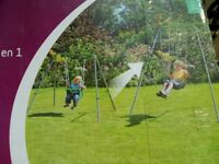 Trampoline and Swing Set Plum hardly used Age 3-10 outdoor / garden play equipment