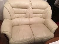 Cream Leather 2 and 3 Seater and Chair