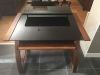 Jual Walnut and Black 900 Computer Desk. Real wood veneers. Excellent condition.