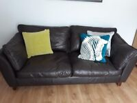 Large Brown Leather Marks & Spencer leather Sofa