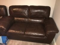 2 Brown leather 2 seater sofa - oak furniture land