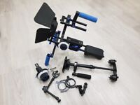 Video film Camera Shoulder Rig, Steadicam, Extra follow focus and Extension Grip