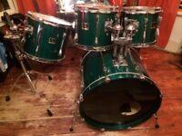 Yamaha Stage Custom 1997 Emerald Green Drum Kit - 4 shells pack plus Tama cases Used