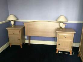 Bedside tables x2 and headboard