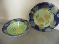 Large matching serving plate and bowl