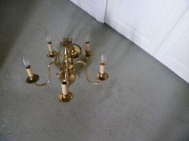 Brass Chandelier - Solid Brass 5 Lanterns