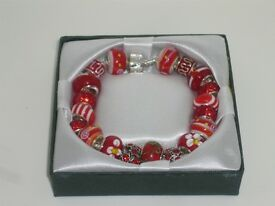 Stunning Adult Red Charm Bracelet Lovely Jewellery