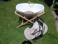 Ladybird moses basket with stand and carry seat by Mothercare