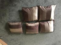 Set of 5 brown cushions