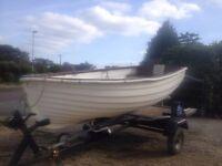 9ft fibreglass fishing boat / tender on trailer