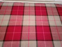 Red and Beige Tartan Plaid Curtain / Upholstery Fabric