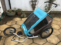 Bike trailer/stroller/jogger - Croozer Plus for 2 kids with baby sling complete set up VGC