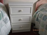 White three drawer bedroom cabinet