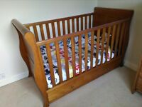 John lewis martha sleigh cot bed, cot top changer, mattress and bedding bundle