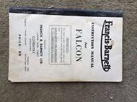 Original 1959 Francis Barnett Instruction Manual For Falcon Models