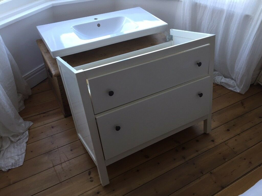 Ikea Odensvik Hemnes Wash Stand With 2 Drawers And Sink White  # Meuble Tv Kaorka Ikea