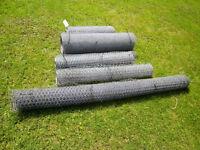 wire netting, galvd., part rolls, 1 x 60cms, 2 x 90cms, 1 x 105 cms, 1 x 180cms heights