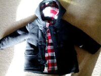 boys charcoal grey coat with hood. size 1.5 - 2 years