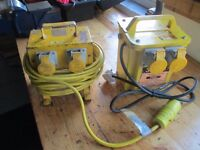 110V Twin 2 Socket Site Transformer Box & 4 Way Splitter Box with 40ft Extension Cable Reel