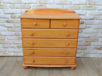 6 Drawer Pine Chest on Bun Feet (Delivery)