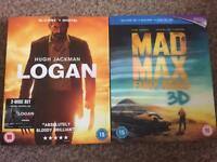 Mad Max 3D Blu Ray + Logan Blu Ray NEW SEALED