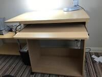 Wooden computer desk workstation