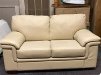 Cream Leather Sofas 3 seater plus 2 seater
