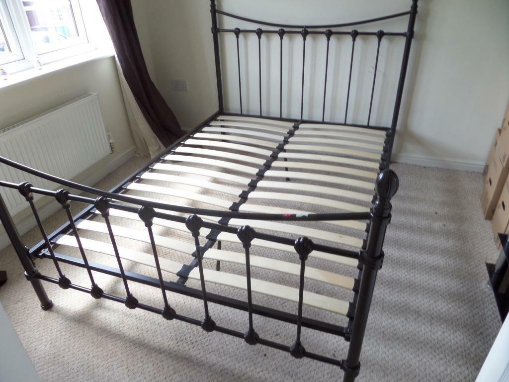 Metal Double Bed With Wooden Slats In Eccles Manchester