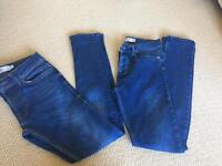 "Two pairs of TopMan spray on skinny jeans size 28"" Short"
