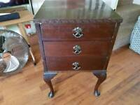 Vintage Retro Bedside Cabinet 3 Drawers Side Table Bathroom Cabinet Console Queen Anne Style Legs