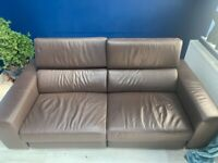 Modern Recliner Sofa Chocolate Leather (with receipt) almost new, PERFECT CONDITION