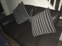 Brown 2 seater sofa and chair