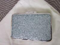 Evening sparkly clutch bag with shoulder strap