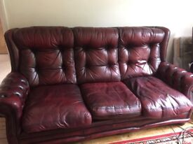 Used wine / red chesterfield like 3 seater sofa / couch