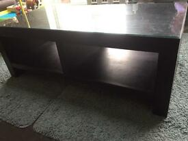 Leather and optional glass top coffee table