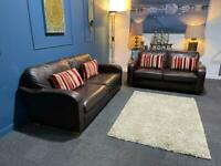 Gorgeous brown leather suite 3 seater sofa and 2 seater sofa