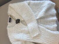 Girls brand new fluffy white cardigan age 7/8