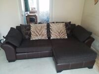 DFS Martina 4 Seater Sofa Lounger with matching storage Pouffe