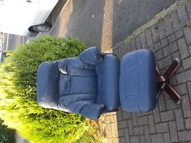 Blue Leather Armchair & Foot Stool