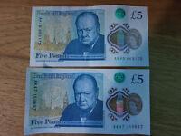 Collectors £5 notes x2 - AK45 & AK47
