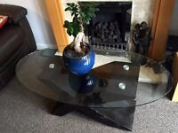 Glass top coffee table and small bookcase