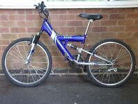 Blue Apollo Excel full suspension mountain Bike ages 8-11 yrs only £30
