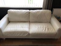 2 x 3 seater leather sofas (white)