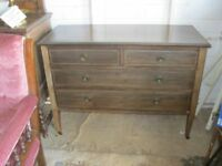 VINTAGE ORNATE SOLID CHEST OF DRAWERS. (POSSIBLY ONCE A DRESSING TABLE BASE) VIEW/DELIVERY AVAILABLE