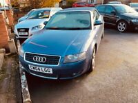Audi, A4, Convertible, 2004, Manual, 1781 (cc), 2 doors. Spares or Repairs