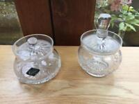 Two crystal sugar bowls.