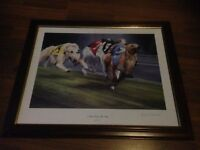 2 x GREYHOUND RACING FRAMED PRINT - PICTURE PHOTO DOG