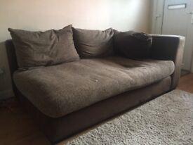 Brown 2 seat fabric sofa